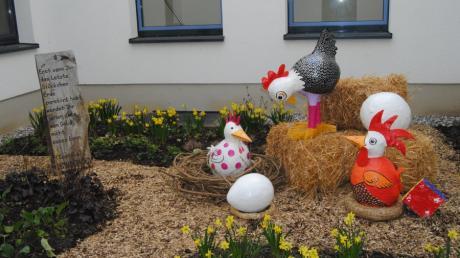 Eine Installation zum schönsten Ei der Welt war die Osterüberraschung für die Patienten der Onkologie.