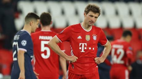 Thomas Müller scheiterte mit dem FC Bayern im Viertelfinale der Champions League an Paris St. Germain.