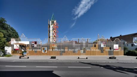 Die Fotomontage der Gruppe Gut zeigt, wie die Fassade am FeuerHaus für die neue Ausstellung verändert werden wird.
