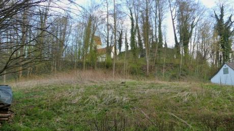 """Das ist ein Teil der Erweiterungsfläche für den Bebauungsplan """"Halde"""" in Kettershausen. Oben am Berg ist zwischen den Bäumen die Kirche zu erkennen."""