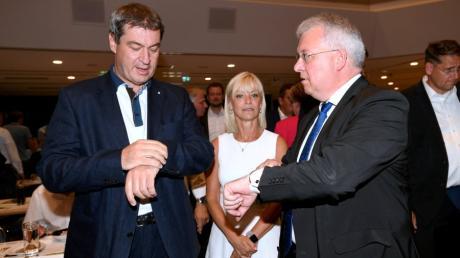 Markus Söder war schon im Landkreis Augsburg zu Gast, wie hier 2019 beim CSU-Bezirksparteitag in Schwabmünchen. Neben ihm: Carolina Trautner und Markus Ferber.