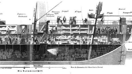 """Dieses Bild aus """"Die Gartenlaube Nr. 39, 1854"""" macht deutlich, wie eingepfercht die Auswanderer auf diesem Frachtsegelschiff rund 40 Tage waren."""