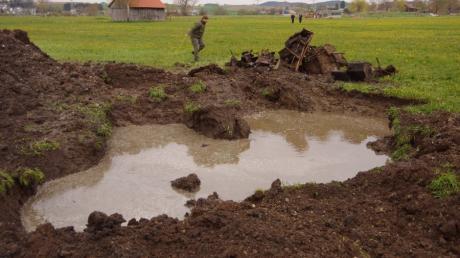 Munition aus der Endphase des Zweiten Weltkriegs wurde auf einem Feld westlich von Balzhausen gefunden.