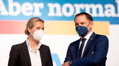 AfD-Franktionsvorsitzende Alice Weidel (links) und AfD-Bundessprecher Tino Chrupalla treten als Team an.