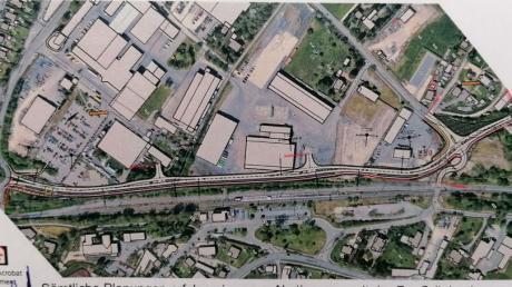 Dieser Plan wurde den Stadträten und Besuchern unter anderem gezeigt. Die rote Linie soll den Ausbau der Anton-Wagner-Straße zwischen Bahn und Betriebsgelände Grünbeck zeigen.
