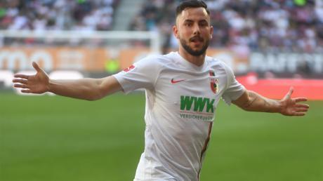 Marco Richter traf beim 6:0-Heimsieg gegen den VfB Stuttgart im Mai 2019 doppelt. Es war der höchste FCA-Sieg in der Bundesliga.