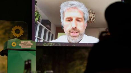 Boris Palmer ist beim Online-Parteitag seines Landesverbands per Video zugeschaltet.