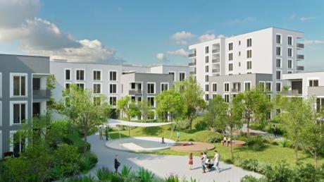 Eine Visualisierung zeigt das Wohnprojekt Reesepark II mit 135 Mietwohnungen der städtischen Wohnbaugruppe. Im Hintergrund ist ein siebenstöckiger Bau zur Ulmer Straße hin zu erkennen.