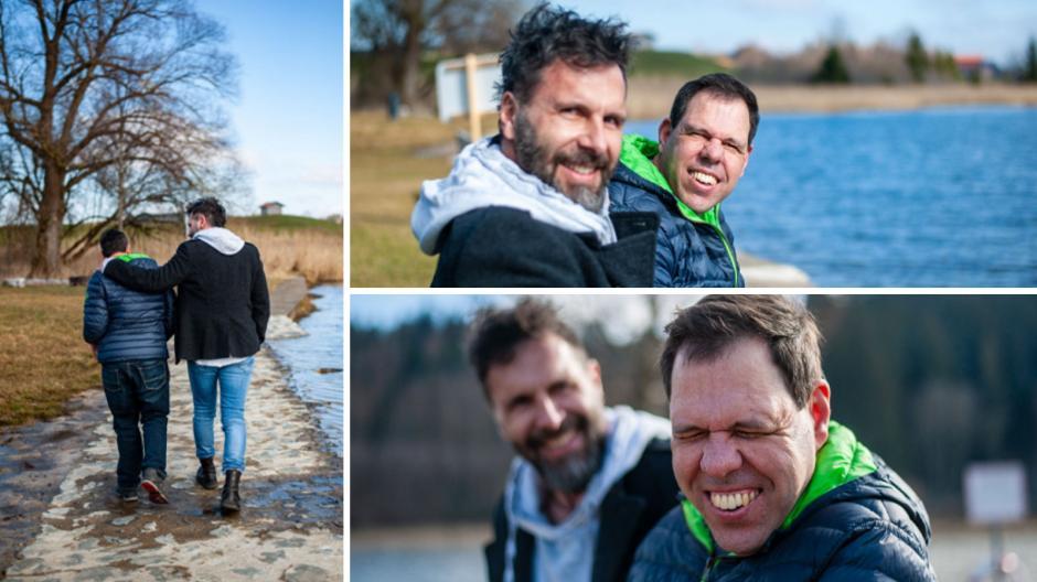 Die Lebenshilfe Ostallgäu hat eine Fotocollage von Klaus Dopfer (mit Bart) und seinem Bruder Michael erstellen lassen – um auf die Situation der Schattenkinder hinzuweisen: auf Geschwister von Kindern, die benachteiligt sind.