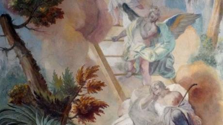 """Dieses Fresko von Franz Martin Kuen, """"Die Jakobsleiter"""", findet sich im Westflügel des Klosters Roggenburg. Es ist ein Exempel für den scharfen, detaillierten Blick der Rokoko-Kunst."""