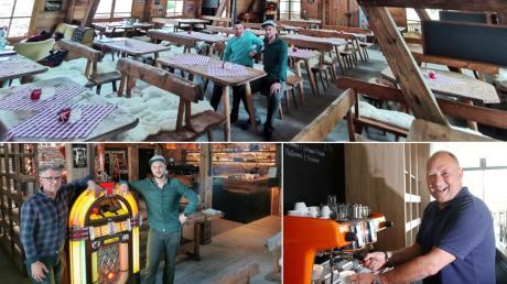 Das neue Barrel House am Wiley Club. Links unten:  Betriebsleiter Michael Frech (links) und Küchenchef Tim Reisenauer.  Rechts unten: Oliver Budzinski, Chef im Uuulmer's.