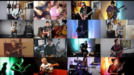 """16 Gitarristen unterschiedlicher Rock-Genres vereint Florian Heitmeir in seinem Musikvideo """"IG Rocks Legacy II"""". Das Foto wurde vom Bildschirm aufgenommen."""