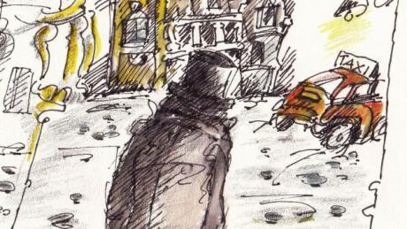 Mister X ist eine dubiose Gestalt mit krimineller Energie. Seine äußerlichen Kennzeichen sind langer Mantel und Zylinder. Die Illustration stammt von Hannelore Hackner.