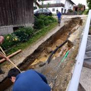 Bei den Starkregen der vergangenen Wochen wurden in Langenneufnach auch Wege unterspült.