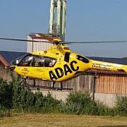 Der ADAC Hubschrauber landete nach dem Unfall in Aichach-Nord.