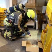 Feuerwehreinsatz in der Postfiliale Günzburg.