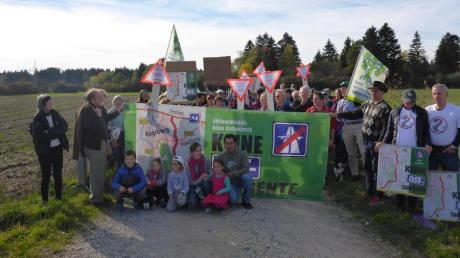 Demonstration gegen die Osttangente im Lechfeld bei Kissing.