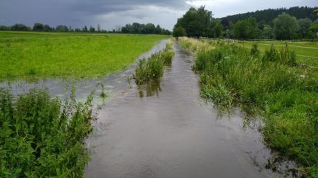 Überschwemmungen nahe Gerlenhofen am vergangenen Wochenende.