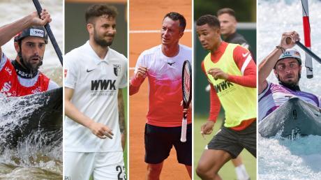 Fünf Augsburger Athleten sind in Tokio am Start: Hannes Aigner, Marco Richter, Philipp Kohlschreiber, Felix Uduokhai und Sideris Tasiadis (von links).