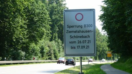 Seit dem 26. Juli wird die B300 im Bereich zwischen Ziemetshausen und Schönebach erneuert.