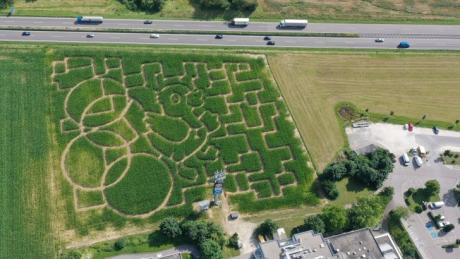 Das 23. Seligweiler-Maislabyrinth aus der Vogelperspektive.
