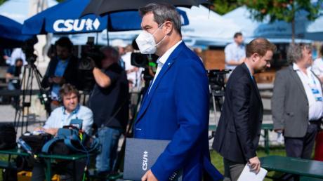 CSU-Chef-Markus Söder bei  der Klausur des Parteivorstands in Gmund.