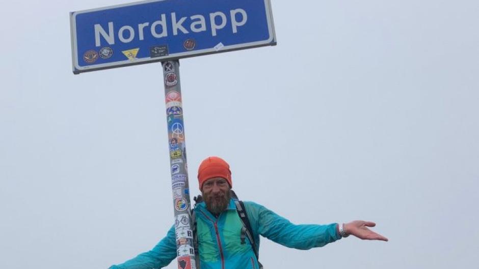 Der Augsburger Bernd Beigl reiste mit dem Rad vom Südkap zum Nordkap.