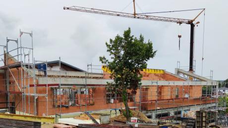 Der Rohbau des neuen Adelzhausener Kindergartens ist schon fast fertig. In der nächsten Sitzung wird der Gemeinderat voraussichtlich die Planung der Freiflächenanlage in Auftrag geben.