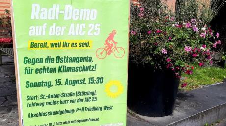 Mit einer Radldemo auf der AIC 25 wollen die Friedberger Grünen am 15. August gegen die geplante Augsburger Osttangente protestieren.