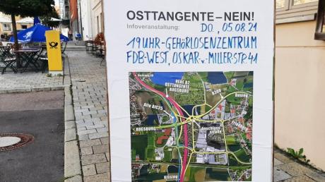 Die Grünen im Landkreis Aichach Friedberg planen weitere Veranstaltungen gegen die neue Variante der Augsburger Osttangente. Mit drastisch gestalteten Plakaten weisen sie darauf hin. Geplant sind Infoabende und eine Radldemo auf der AIC 25.