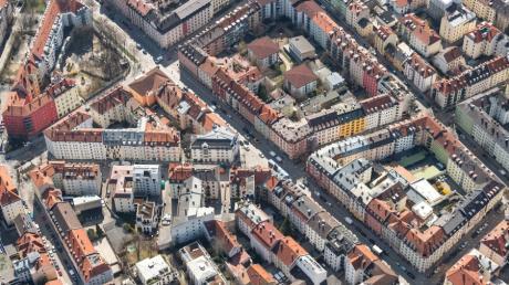 Die Innenstadt von München, fotografiert aus einem Hubschrauber.