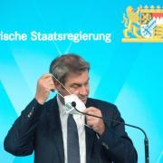 Ministerpräsident Markus Söder spricht auf der Pressekonferenz nach einer Sitzung des bayerischen Kabinetts.