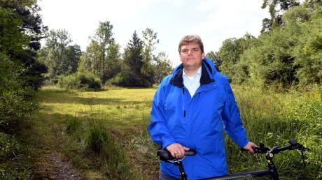 An dieser Stelle im Wald bei Langweid beobachtete Rainer Kraft (AfD) zu Zeiten des Lockdowns viele Familien. Der Abgeordnete kritisiert die Einschränkungen seit Beginn der Pandemie.
