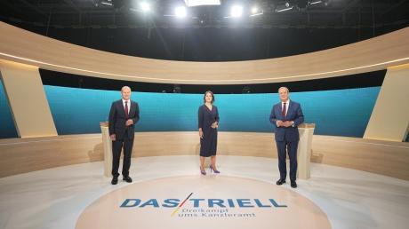 Vor dem Triell: Olaf Scholz SPD, Annalena Baerbock Bündnis90/Die Grünen und Armin Laschet.