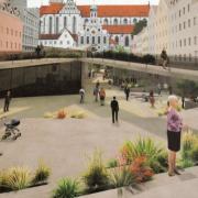 So könnte nach Vorstellung der Studenten Tobias Pillmeier und Felix Binder die autofreie Maximilianstraße einmal aussehen.