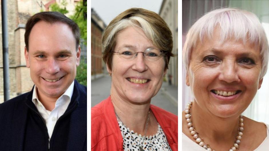 Die Augsburger Kandidaten Volker Ullrich, Ulrike Bahr und Claudia Roth liefern sich ein knappes Rennen.