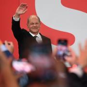 Olaf Scholz während der Wahlparty im Willy-Brandt-Haus.