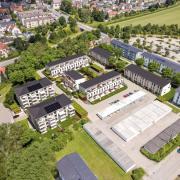 Blick aus der Luft: So fügt sich das Wohnbauprojekt in die Bobinger Umgebung ein.