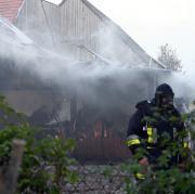 In Baiershofen steht eine Scheune in Brand.
