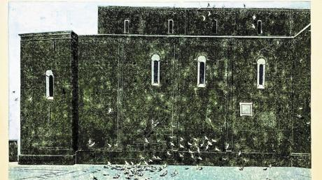"""Linolschnitte von Robert Förch zeigt das """"Kunstwerk"""" in Dießen.  Dieses Werk trägt den Titel """"Am dunklen Dom""""."""