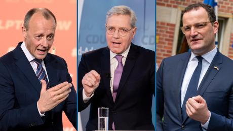Die CDU steckt in ihrer tiefsten Krise. Parteichef Armin Laschet ist schwer angeschlagen. Wer könnte ihn ersetzen? Im Bild von links: Friedrich Merz, Norbert Röttgen und Jens Spahn.