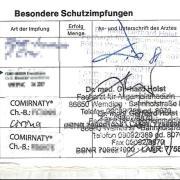 Blick ins Impfbuch von E.Müller. Ihm hatte Dr. Gerhard Holst  eine Impfung wohl nur vorgetäuscht.
