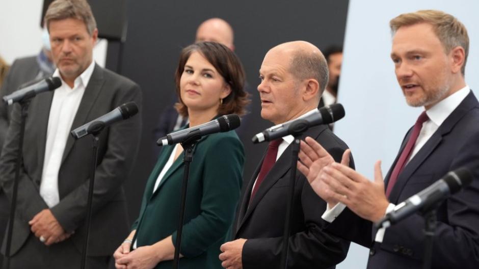 Bald schon Regierungspartner? Robert Habeck, Annalena Baerbock,  Olaf Scholz und  Christian Lindner.