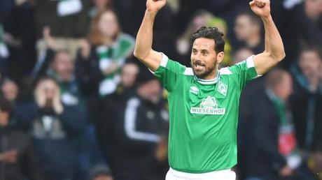 Werders Claudio Pizarro läuft in der nächsten Saison wieder mit seiner Lieblingsnummer auf - der 14. Foto: Carmen Jaspersen