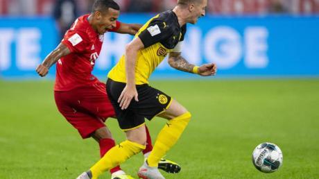 Könnten am 9. November wieder aufeinandertreffen: Bayerns Thiago Alcantara (l) und Dortmunds Marco Reus. Foto: Guido Kirchner