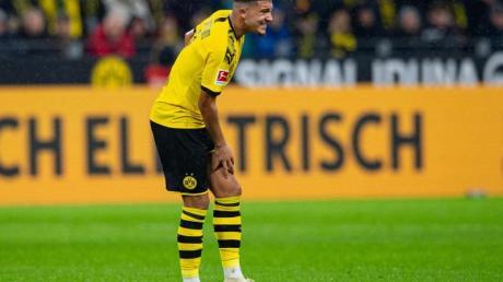 Dortmunds Jadon Sancho litt in der Partie gegen RB Leipzig unter Krämpfen.
