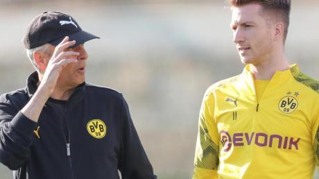 BVB-Coach Lucien Favre lässt derzeit in Zweiergruppen trainieren - Kapitän Marco Reus macht dies weiterhin dosiert.