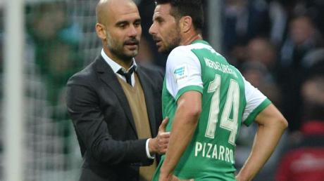 Arbeiteten einst beim FC Bayern zusammen: Pep Guardiola (l) und Werder-Angreifer Claudio Pizarro.