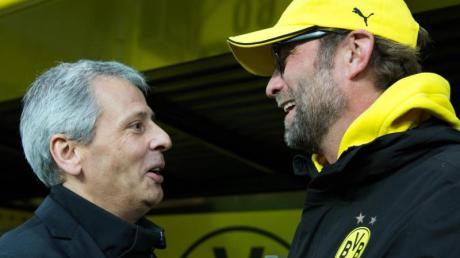 Jürgen Klopp (r) hält Lucien Favre «für einen guten Trainer»: Begegnung 2014.