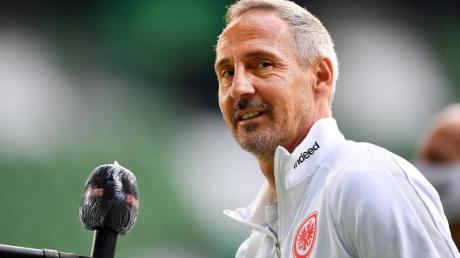 Eintracht-Trainer Adi Hütter war nach dem Sieg in Berlin zufrieden.